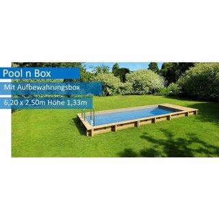 Holzpool Pooln Box, 6,20 x 2,50 m x 1,33 m, mit Sandfilteranlage + Aufbewahrungsbox