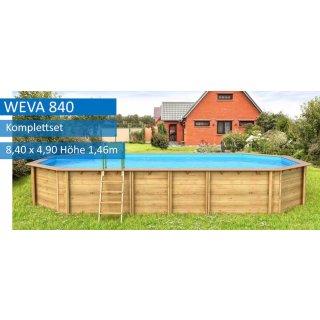 Holzpool Weva, 8,40 x 4,90 m, Pool-Komplettset, Höhe 146 cm